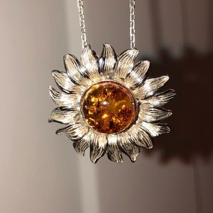 Jewelry - Sterling Silver Baltic Amber Sunflower Pendant